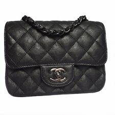 Authentic CHANEL Mini Square Classic Flap Bag Black Calfskin Black HDW New 2017
