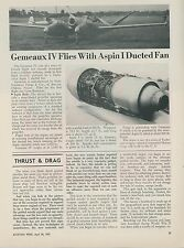 1952 Aviation Article Gemeaux IV Test Ircraft French France Jet History