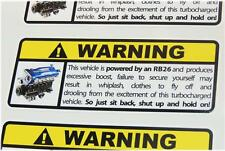 RB26 Warning Sticker Decal Nissan Skyline GTR R32 R33 R34 Drift JDM Japan