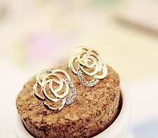 Earrings Real 9ct Gold Filled Diamond Rose Stud Great Gift Idea UK Stock