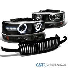 1999-2002 Chevy Silverado Black Projector Headlights+Bumper Lamp+Vertical Grille