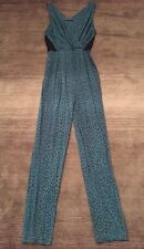 Maria Filo One Piece Pant Sexy Jump Suit Tapered Leg Stretch Teal Leopard Small