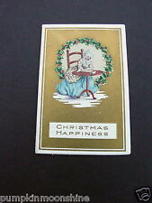 Unused Vintage Gold Embossed Xmas Greeting Card Victorian Lady Writing Letters