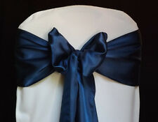 100 navy blue Satin Chair Cover Sash Bows Tie Wedding Party  Venue Decorations