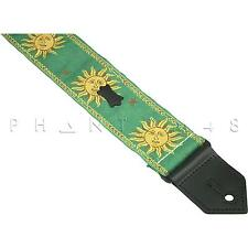 NEW Levy's M8SUN Woven Sun Design Pattern Poly & Leather Guitar/Bass Strap GREEN
