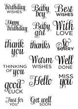 Paula Pascual 17 Sentiments clear rubber stamps greetings card making craft
