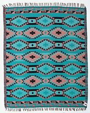 Turquoise Trade Blanket Native American Design Accent Throw Yoga Home Decor Rug