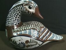 Elaborate Authentic Vtg. Ateos Mexican Pottery Hand Painted Goose Sculpture
