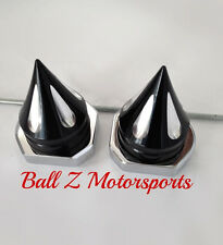 08-09-13-15-17 Hayabusa Black/Silver Grooved Spike Spiked Rear Axle Caps/Covers!