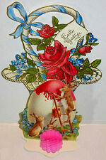 VINTAGE EASTER CARD w/ HONEYCOMB EGG 3D Stand up Display NOS NIP Shackman