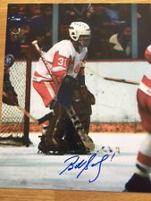 Detroit Redwings Bob Sauve signed 8x10 W/COA pose 2
