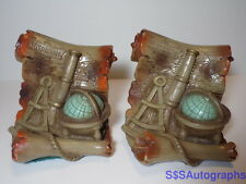 Vintage 1967 OLD WORLD Map GLOBE Telescope BOOKENDS Universal Statuary Chicago