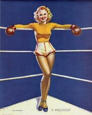 RETRO PINUP QUALITY CANVAS PRINT A4 Poster Gil Elvgren Sexy Boxing Girl Knockout