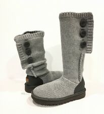 UGG 1014460 CLASSIC CARDY CASHMERE BOOTS GRAY 100% CASHMERE KNIT  US 6 -NIB