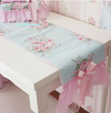 Shabby Chic Cottage Floral Table Runner Blue and Pink Lace Trim Tulle Netting