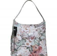 Made in Italy Echt Leder Shopper Tasche Foto Print Motiv Blumen Weiß Bunt