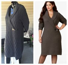 NWOT Calvin Klein Gray Faux Wrap Sweater Dress Plus Sz 2X Shawl Collar Cableknit