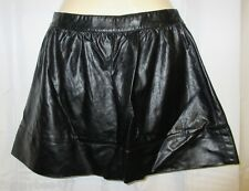 NWT L Forever 21 Faux Leather Mini Skater Skirt Steampunk Punk Black F21 Short