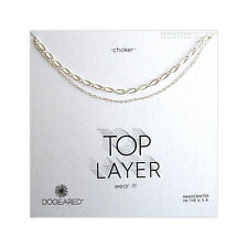 "Dogeared Top Layer Sterling Silver 2 Chain Double Choker Necklace 14"" & 15"" NEW"