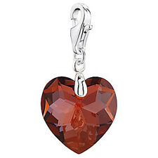 Ruby Red Heart Crystal 925 Silver Bracelet Clip Charm