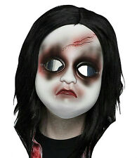 White Doll Freaky Face Mask with Long Black Hair