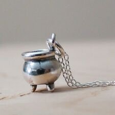 Cauldron Necklace - 925 Sterling Silver - Halloween Charm Witch Kettle Brew NEW
