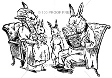 100 PROOF PRESS RUBBER STAMPS READING RABBITS STAMP