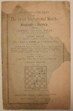 1889 INTERNATIONAL MATCH ENGLAND AMERICA BARKER SMITH Checkers Draughts Dunne