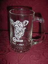 GLASS MUG C WESSON MILK COW 1967 - 1987 VINTAGE FROSTY CLEAR AND WHITE PRINT EC