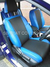 TO FIT A FIAT 500, CAR SEAT COVERS, BLACK/NEON BLUE LEATHERETTE