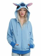 NEW Juniors Medium Disney Blue Lilo and Stitch Costume Cosplay Hoodie With Ears