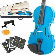 MENDINI SIZE 1/2 SOLIDWOOD VIOLIN METALLIC BLUE +TUNER+SHOULDERREST+BOW+CASE
