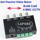 UTP 4 Channel CH Passive Video Balun to CAT5 RJ45 & 4 BNC CCTV Adapter Q-204 AU