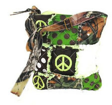 PEACE CAMO CAMOUFLAGE WESTERN RAGBAG CROSS BODY HIPSTER RAG BAG PURSE GREEN
