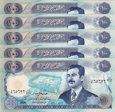 IRAQ 100 DINAR 1994 AU / UNC 5 PCS LOT P.84 WITH SADDAM HUSSEIN