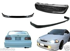 1999-2000 CIVIC 2 / 4 DOOR PU BLACK ADD-ON FRONT + REAR BUMPER LIP + HOOD GRILL