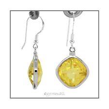 Sterling Silver Rhombus Drop Earrings CZ Yellow #65377