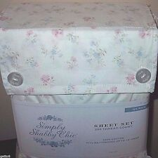 SIMPLY SHABBY CHIC Candy Pink Floral QUEEN Sheet Set Dainty Flowers PINK WHITE