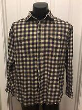 Mens Carhartt Button Up Long Sleeve Plaid Rugged Work Shirt Size XL