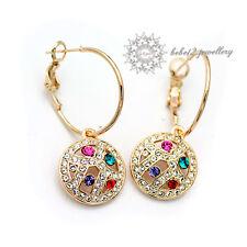 Multicolor Crystal Dangling Earring/ Swarovski Elements/Rose Gold/RGE010G