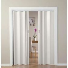 White Oak Effect Folding Double Central Opening PVC Door Handles Included UK