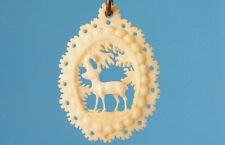 Amazing Antique Black Forest Stag-Bone-Carved Hunt Pendant Ibex Ram Germany