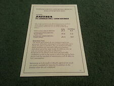 May 1981 ZASTAVA Yugo 1100 ZLC CARIBBEAN 5 DOOR DEALER FUEL CONSUMPTION BROCHURE