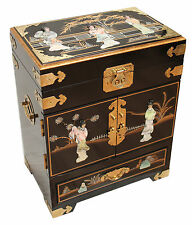 Black with Mother of Pearl Lacquered Jewellery Box Oriental Furniture Chinese