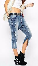 $158 NEW ONE by One Teaspoon Blue Blonde Kingpins Low Waist Drop Crotch Jeans 26