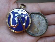 Large Delicate Tibetan Lapis Inlay Carved Mantra OM Ghau Box Amulet Pendant