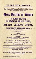 Old Print. Women's Suffrage. MASS MEETING OF WOMEN TO DEMAND THE VOTE