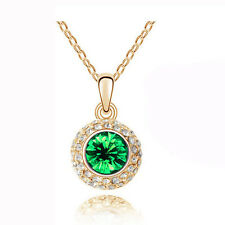 Luxury Gold & Green Crystal Round Pendant Necklace N214