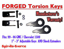 Torsion Level FRONT FORGED LIFT KEYS + EXTENDER 1999 - 06 Chevrolet GMC 1500 3in