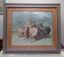 "Signed Matted Vintage ""Horses in the Storm"" Print #7083 in Vintage Wooden Frame"